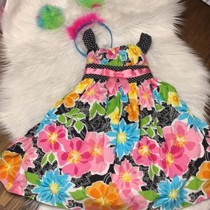 Other - Floral dress with fuzzy headband
